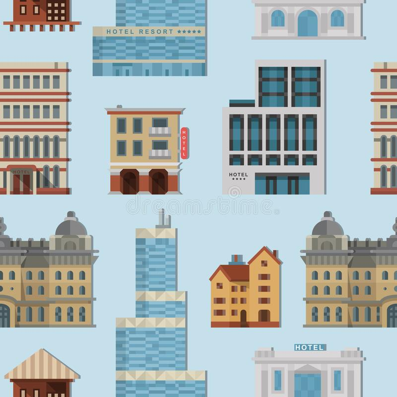 De verschillende huizen van stads openbare vectorgebouwen geplaatst vlak ontwerp royalty-vrije illustratie