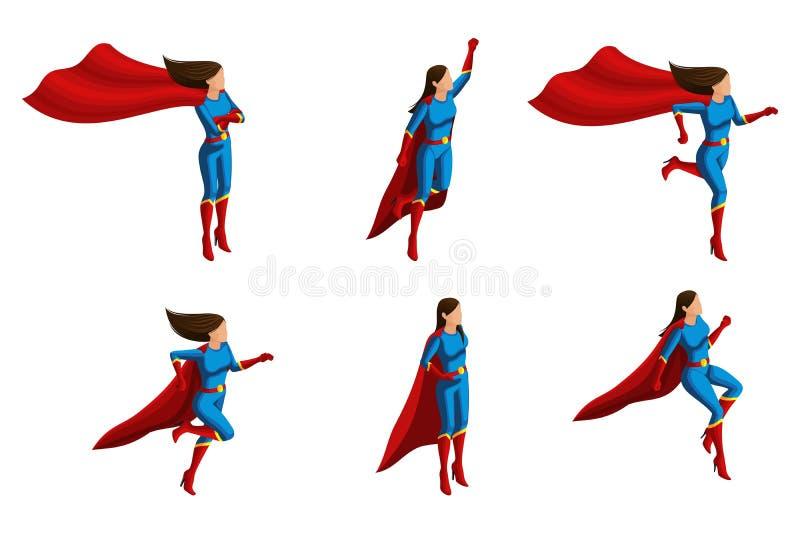 De verschillende Isometrya reeks meisjes in kostuums, stelt, 3D super, helden, redders Vector illustratie vector illustratie