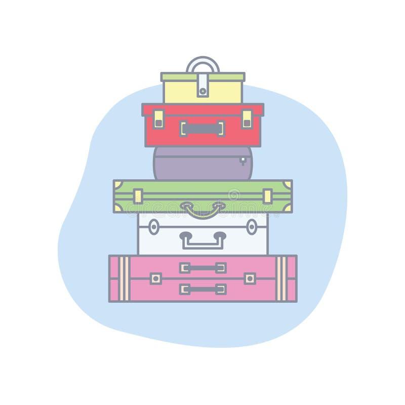 De verschillende Kleuren behandelen Zakken en Reiskoffers in Stapel Gekleurde Bagage en Bagage voor Reis Vlak Reisart. royalty-vrije illustratie