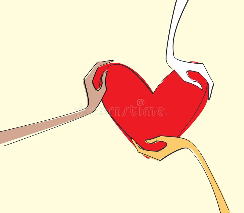 De verschillende menselijke handen die van de huidkleur het rode hart van het liefdesymbool houden Concept liefde en begrip vector illustratie