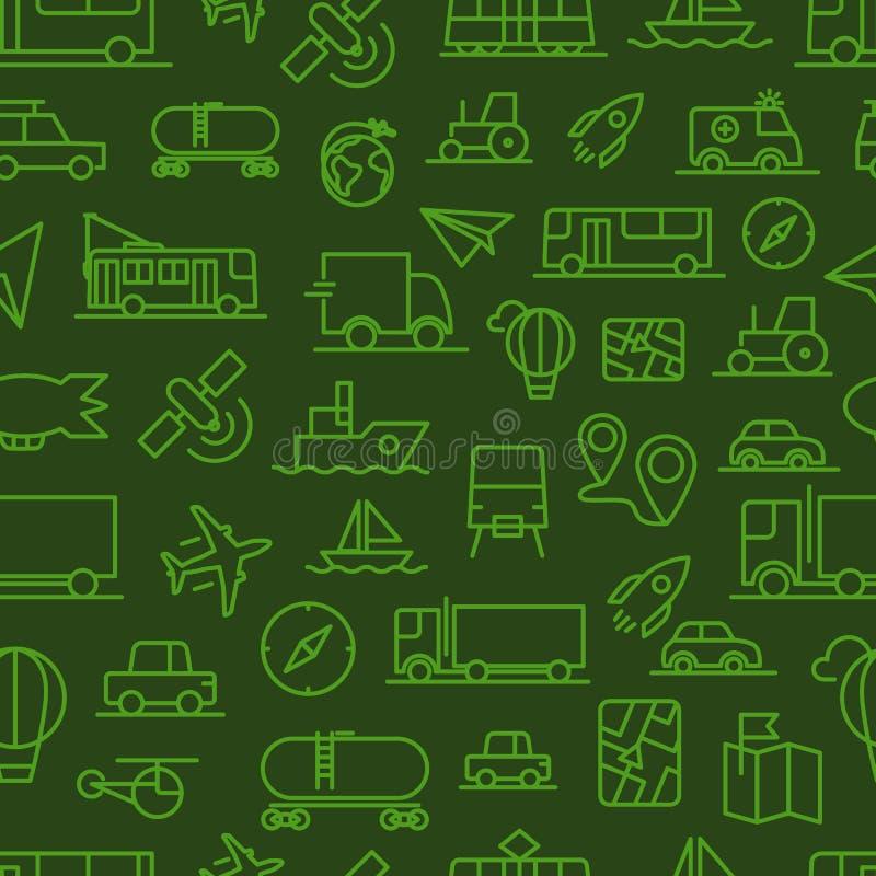 De verschillende naadloze achtergrond van vervoerpictogrammen royalty-vrije illustratie