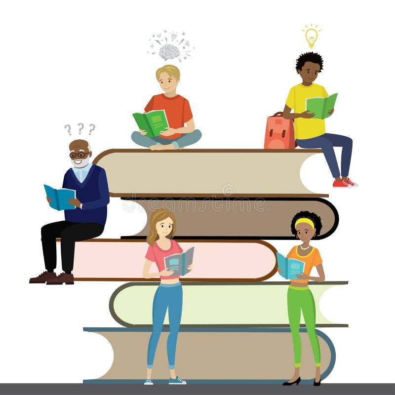 De verschillende rassen van beeldverhaalmensen gelezen boeken, leerproces stock illustratie
