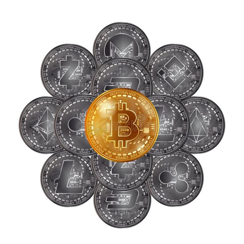 De verschillende stapel van cryptocurrencymuntstukken stock illustratie