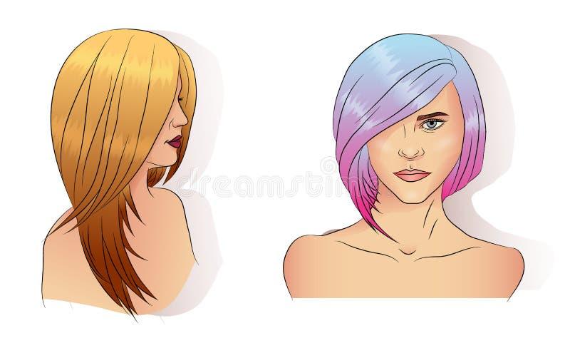 De verschillende stijl van het Vrouwenhaar van een geverft haar stock illustratie