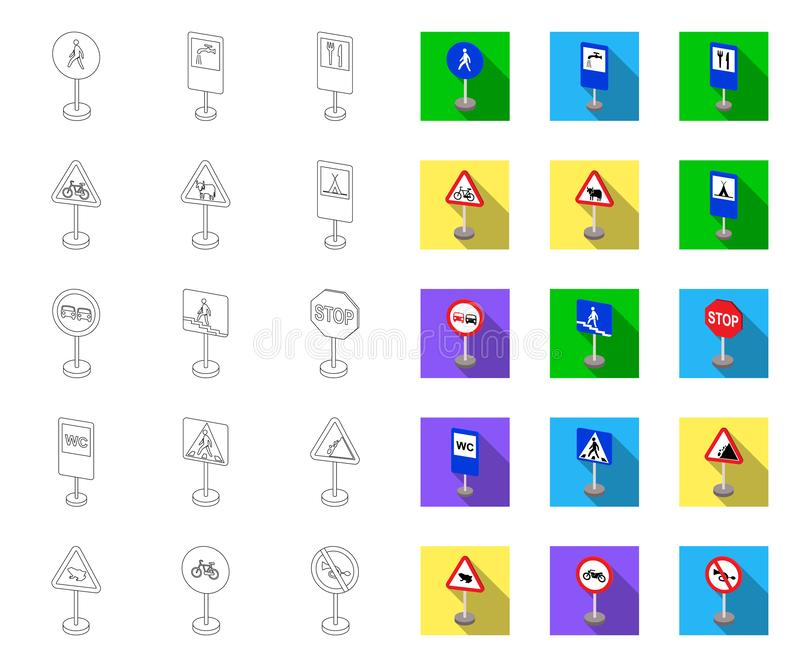De verschillende types van verkeersteken schetsen, vlakke pictogrammen in vastgestelde inzameling voor ontwerp Waarschuwing en ve vector illustratie