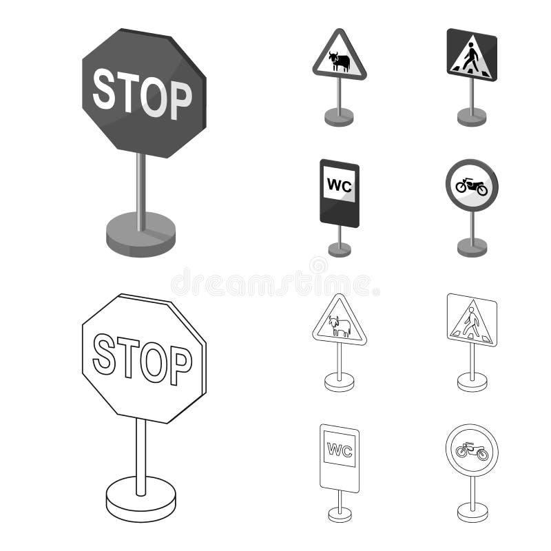 De verschillende types van verkeersteken schetsen, zwart-wit pictogrammen in vastgestelde inzameling voor ontwerp Waarschuwing en royalty-vrije illustratie