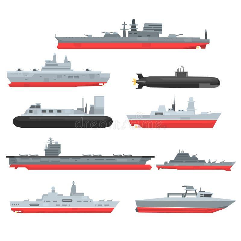 De verschillende types van zeegevechtsschepen plaatsen, militaire boten, schepen, fregatten, onderzeese vectorillustraties stock illustratie