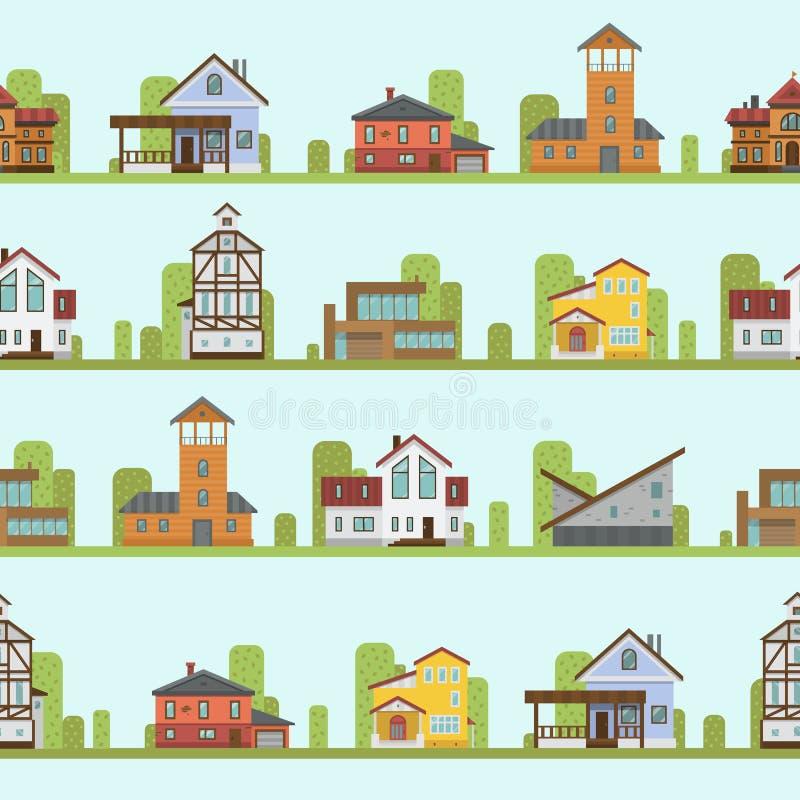 De verschillende van de de gebouwenstraat van de stadsstad van de de meningsarchitectuur van het het patroonhuis naadloze van de  stock illustratie