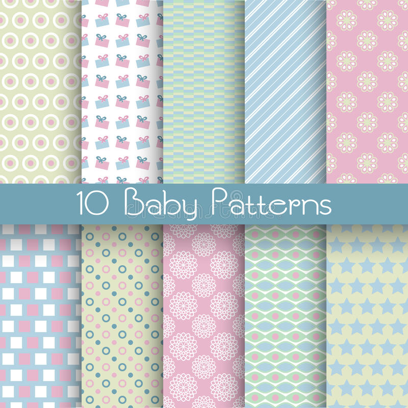 De verschillende vector naadloze patronen van de babypastelkleur (het betegelen) royalty-vrije stock afbeeldingen