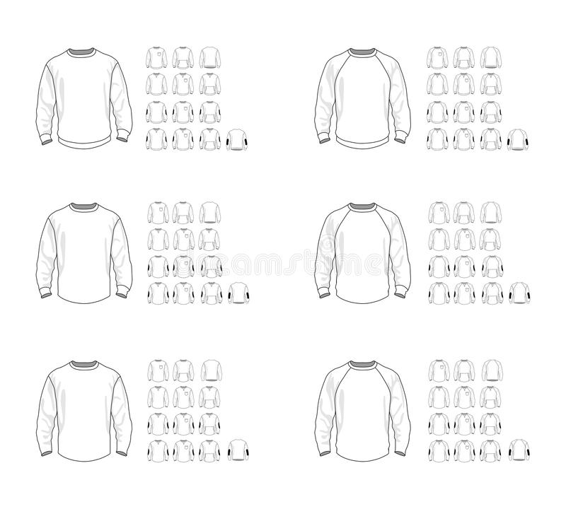 De verschillende vectormodellen van het sweatshirtmalplaatje, voor en achtermening vector illustratie