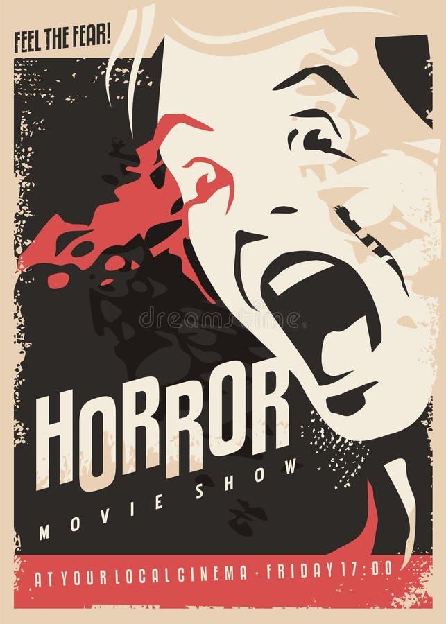 De verschrikkingsfilm toont retro ontwerp van de bioskoopaffiche vector illustratie