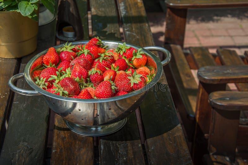 De verse aardbeien met peduncle verzamelden in een vergiet dat zich op een houten lijst bevindt royalty-vrije stock foto