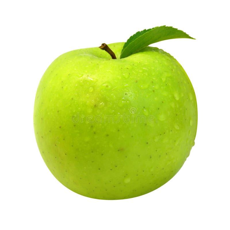De verse appel met groen doorbladert royalty-vrije stock foto's