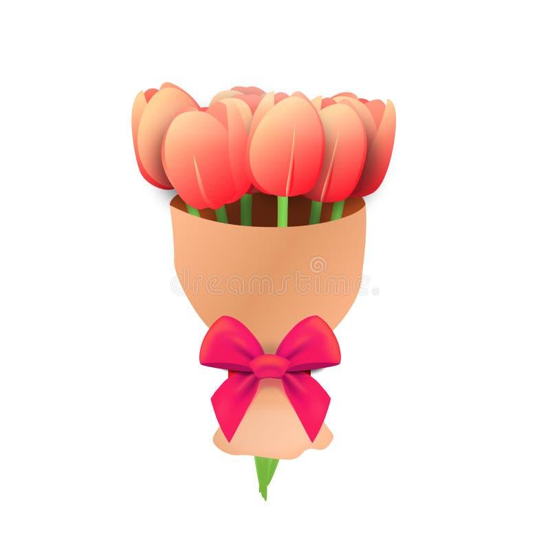 De verse bloemen van de de lentetulp Een boeket van bloemen voor de vakantie Ge?soleerdj op witte achtergrond vector illustratie