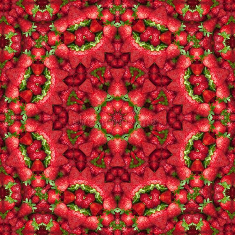 De verse caleidoscoop van het aardbei abstracte patroon stock illustratie