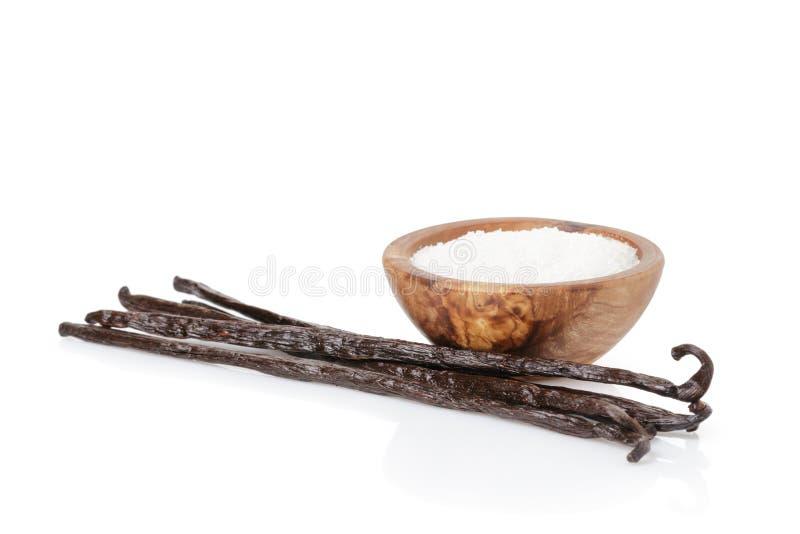 De verse de geïsoleerde peulen en suiker van de bourbonvanille, royalty-vrije stock foto