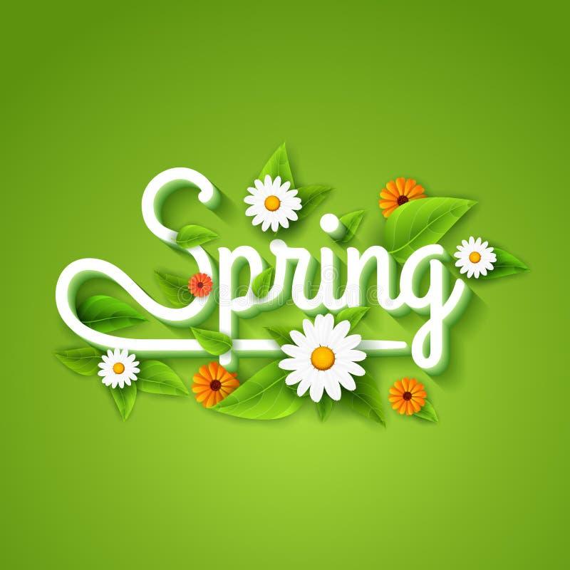 De verse de lenteaffiche als achtergrond met doorbladert, kamille en bloemen Hello-de Lente vector illustratie