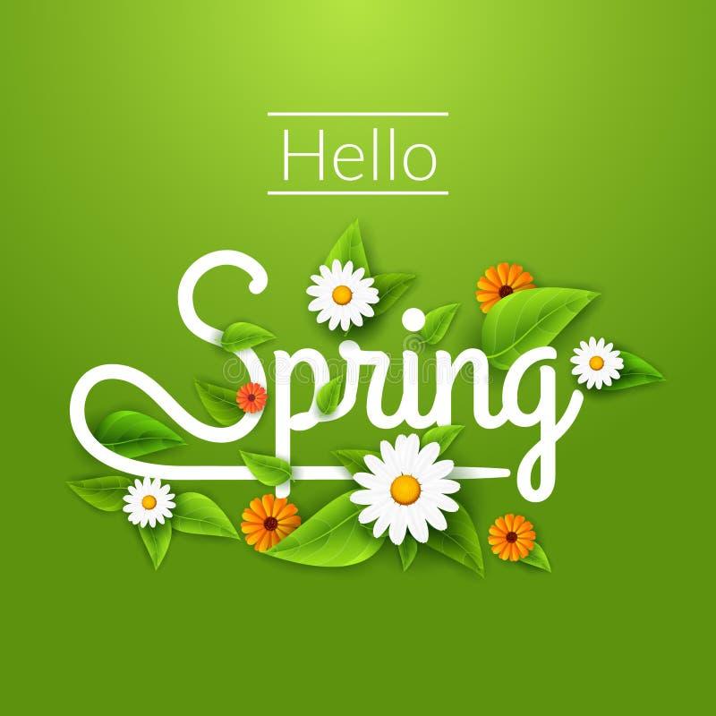 De verse de lenteaffiche als achtergrond met doorbladert, kamille en bloemen Hello-de Lente royalty-vrije illustratie