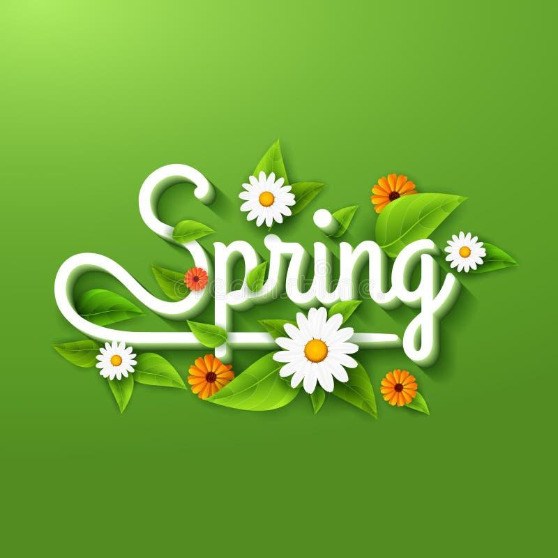 De verse de lenteaffiche als achtergrond met doorbladert, kamille en bloemen op groen stock illustratie
