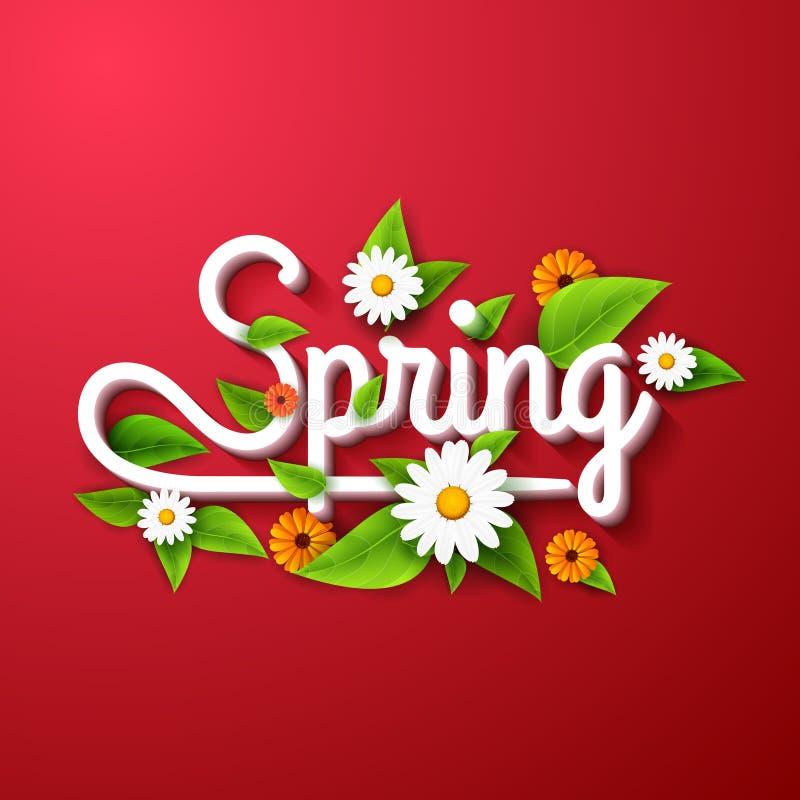 De verse de lenteaffiche als achtergrond met doorbladert, kamille en bloemen op rood vector illustratie