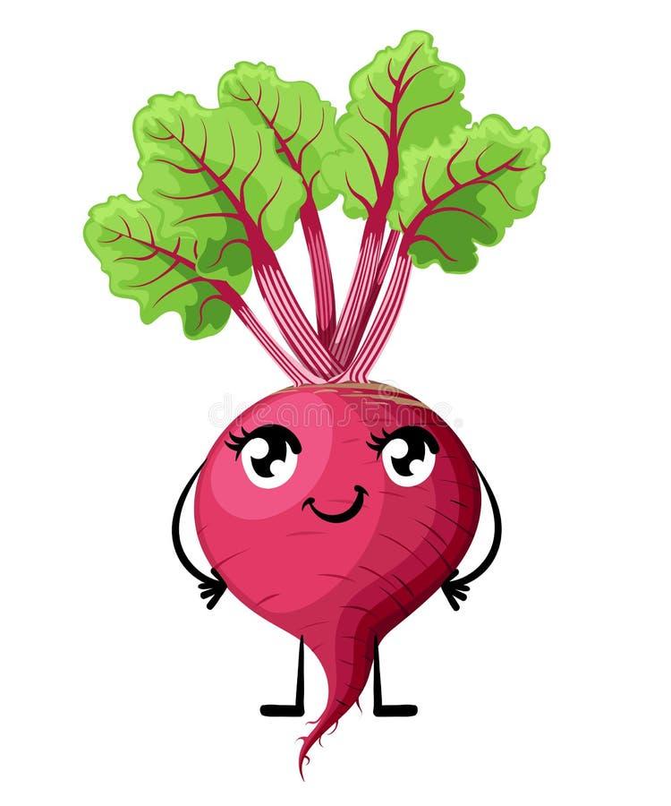 De verse die biet met blad en de glimlach zien groente met de handen en de benen de illustratie van de beeldverhaalstijl van de o royalty-vrije illustratie