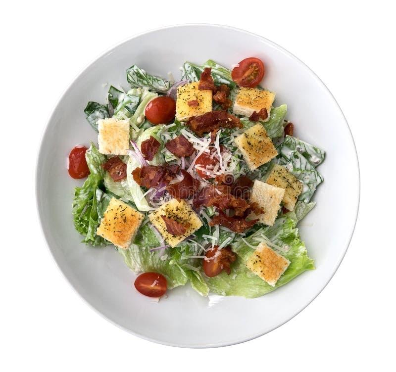 De verse gezonde caesar salade hoogste mening solated op witte achtergrond, stock afbeelding