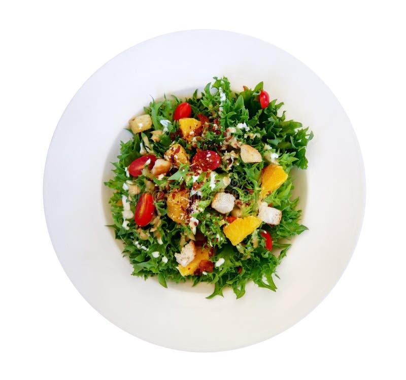 De verse gezonde groene caesar salade hoogste mening solated op witte backgound, weg royalty-vrije stock fotografie