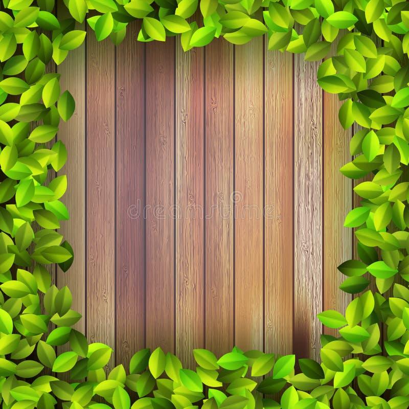 De verse installatie van het de lenteblad over hout. + EPS10 vector illustratie