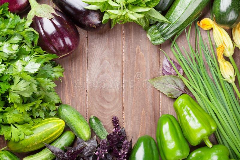 De verse landbouwers tuinieren groenten en kruiden stock foto