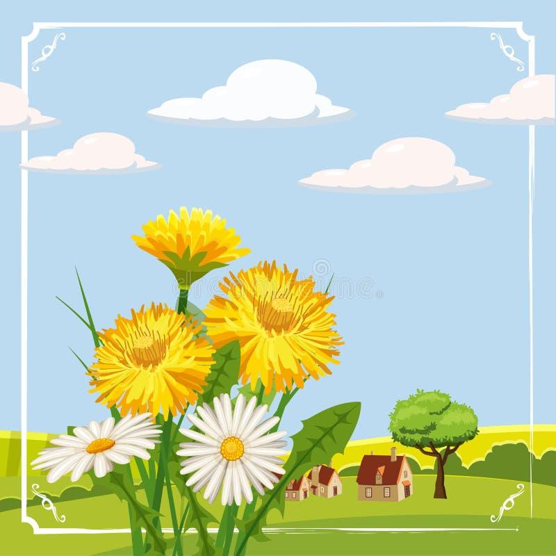De verse lente, madeliefjes en paardebloemen, landbouwbedrijf vector illustratie