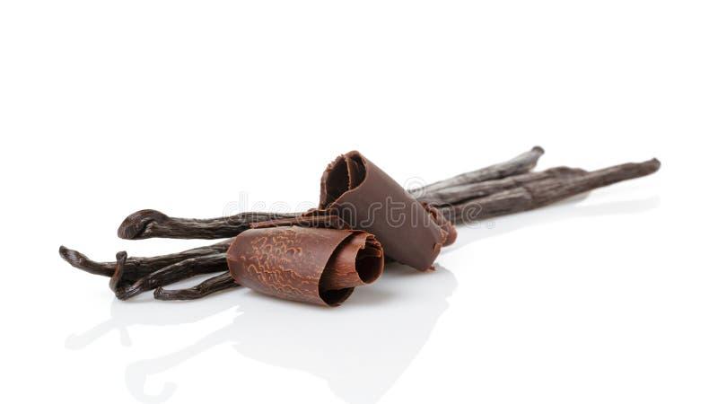 De verse peulen van de bourbonvanille en chocoladekrullen stock foto's