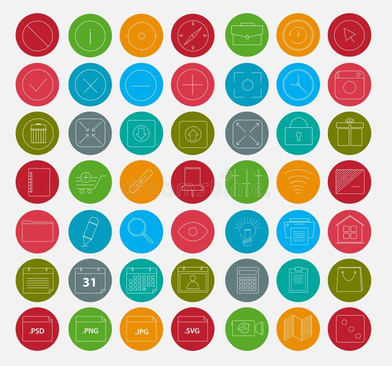 49 de verse Reeksen van het kleurenpictogram voor Ontwikkelaars en Ontwerpers vector illustratie
