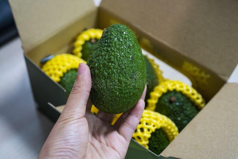 De verse rijpe smakelijke avocado nam uit de doos stock afbeeldingen