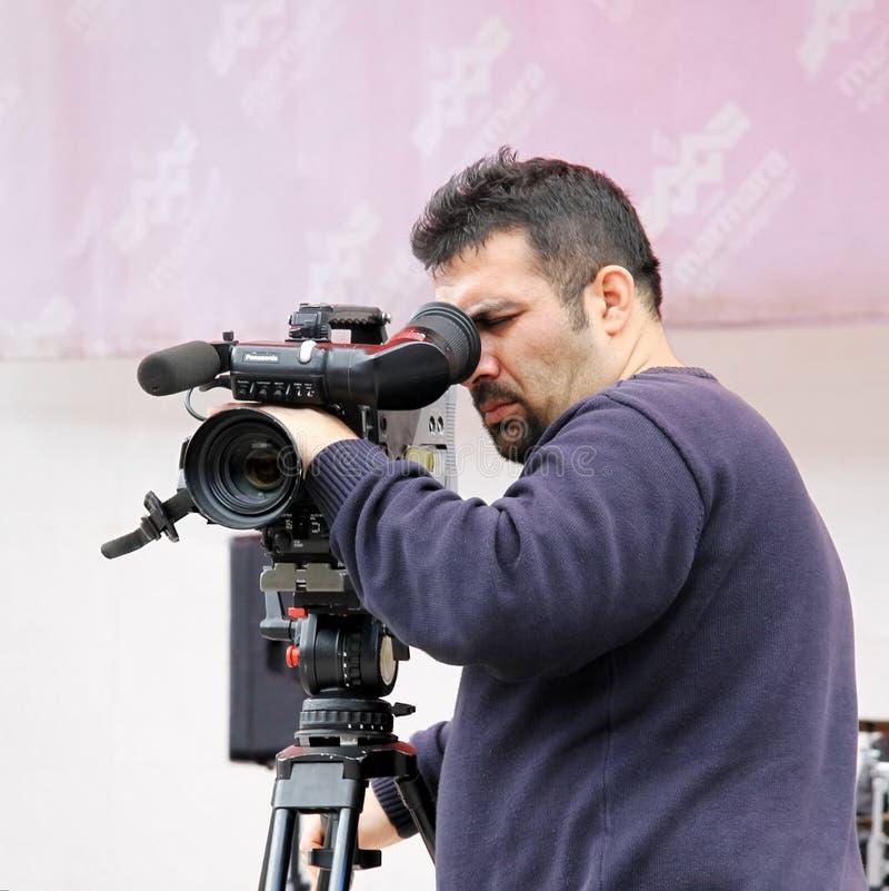 De verslagen van de cameraman stock foto's