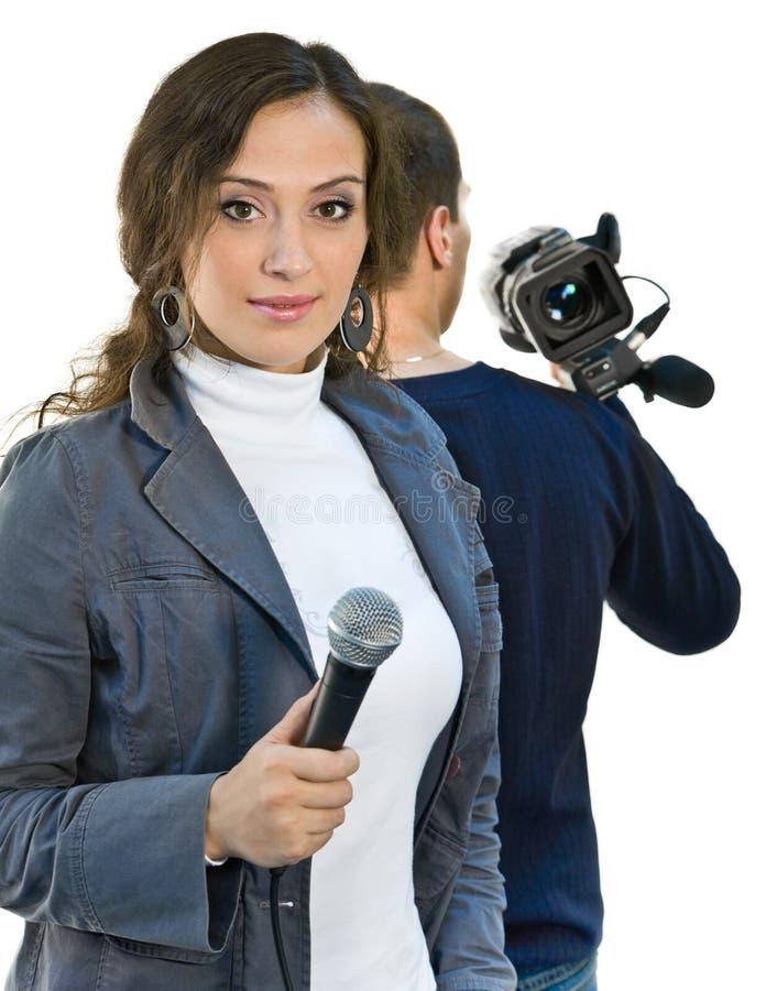 De verslaggever en teleoperator van TV royalty-vrije stock foto