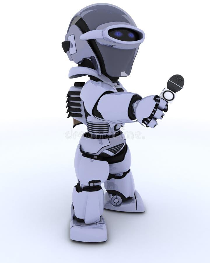 De verslaggever van de robot met een microfoon royalty-vrije illustratie