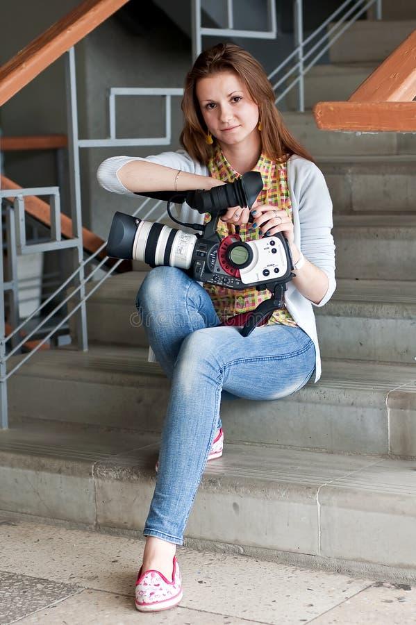 De verslaggever van de vrouw royalty-vrije stock foto