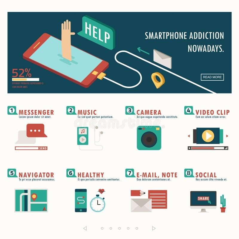 De verslaving en de functie van Smartphone infographic met banner royalty-vrije illustratie