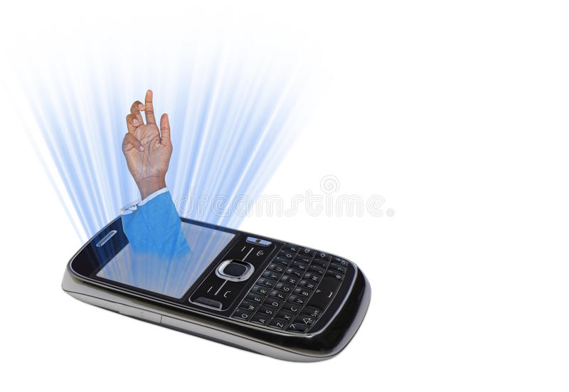 De verslaving van de mobiele of celtelefoon royalty-vrije stock afbeeldingen
