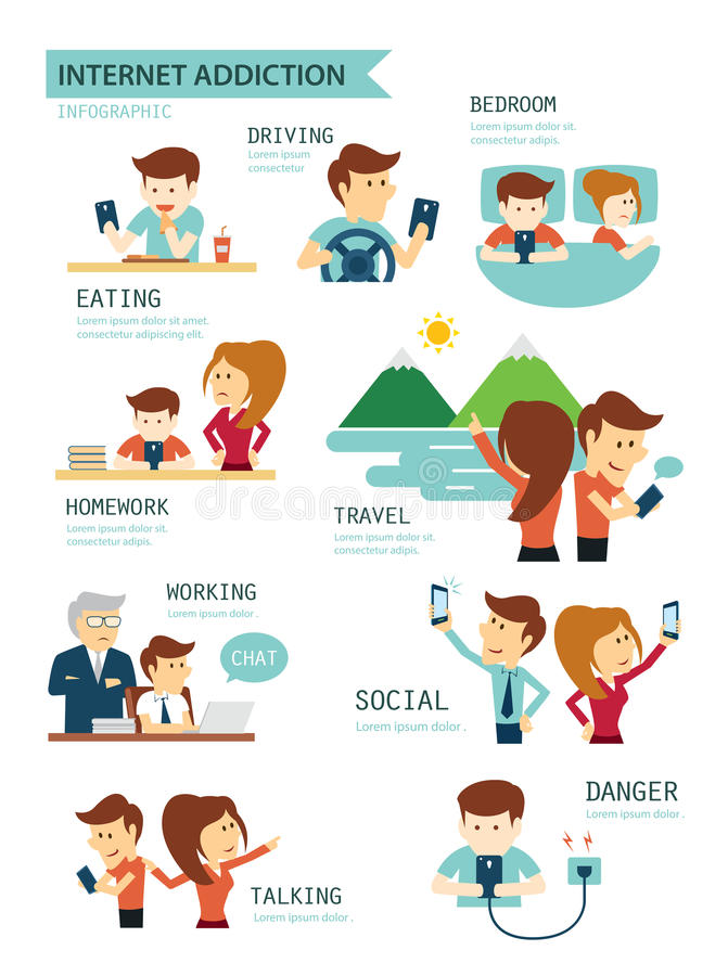De verslaving van Internet en van smartphone vector illustratie