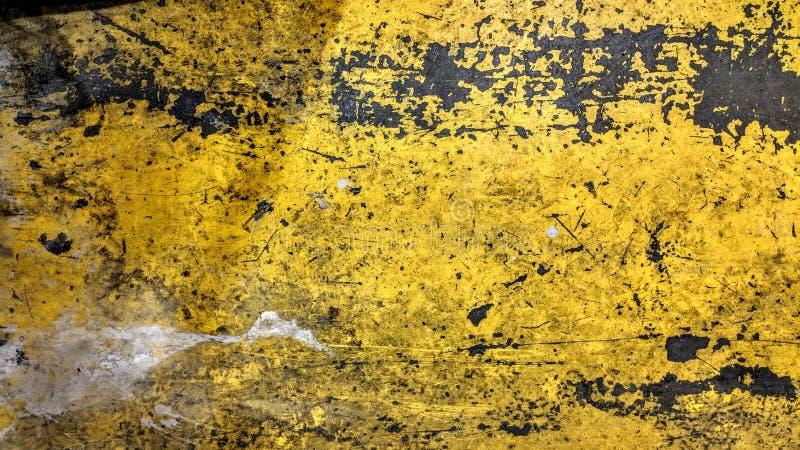 De versleten staalplaat schilderde gele stijl grunge royalty-vrije stock foto