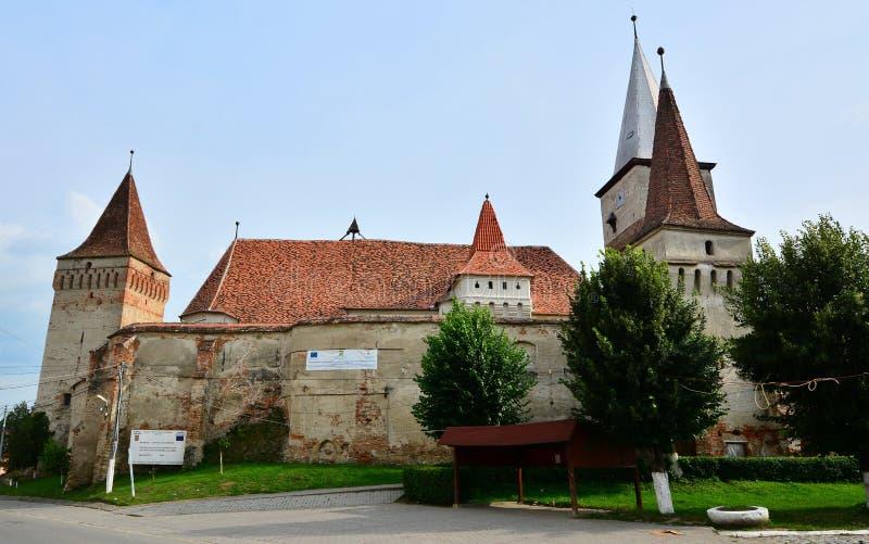 De versterkte kerk van Mosna stock afbeelding