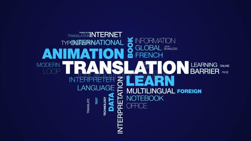 De vertaling leert de zaken van het animatieboek van het communicatie wolk van het de gegevens de definitie geanimeerde woord com stock illustratie