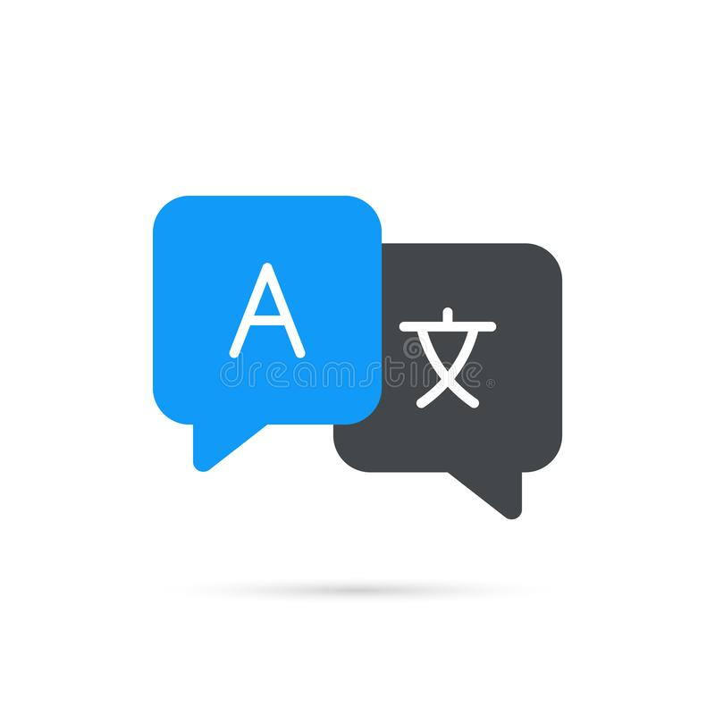 De vertaling van de pictogramtaal De vertaling van praatjebellen Mededeling, taal Webembleem Vector illustratie vector illustratie