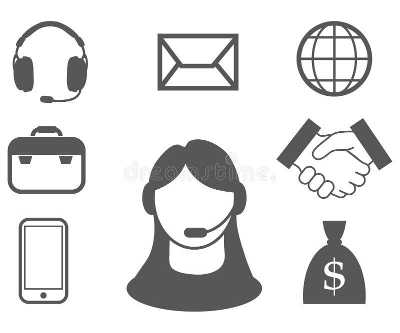 De vertegenwoordiger van de klantendienst, call centre, het pictogram van de klantendienst, telecommunicatie-exploitant, online m stock foto