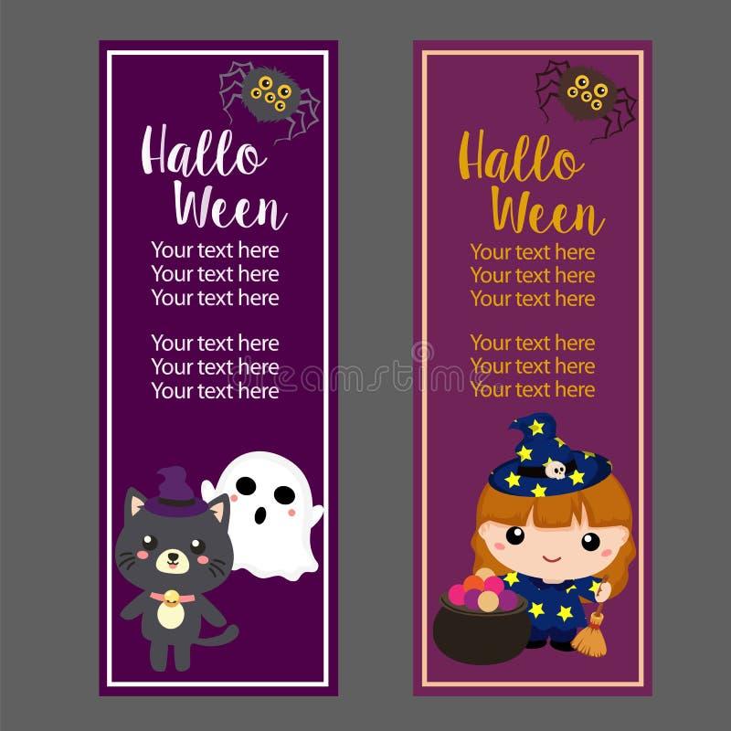De verticale banner van Halloween met lief beeldverhaalkarakter vector illustratie