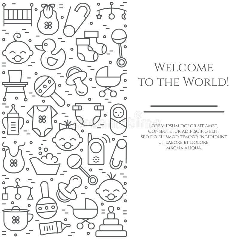 De verticale banner van het babythema Pictogrammen van baby, kinderwagen, voederbak, mobiel, speelgoed, rammelaar, fles, luier, b royalty-vrije illustratie
