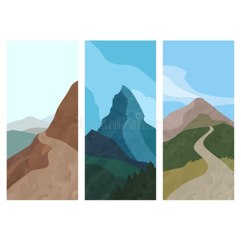 De verticale banner van het dekkingsmalplaatje met berg in vlakke stijl Reeks van drie vliegers van het landschapssilhouet Vector royalty-vrije illustratie
