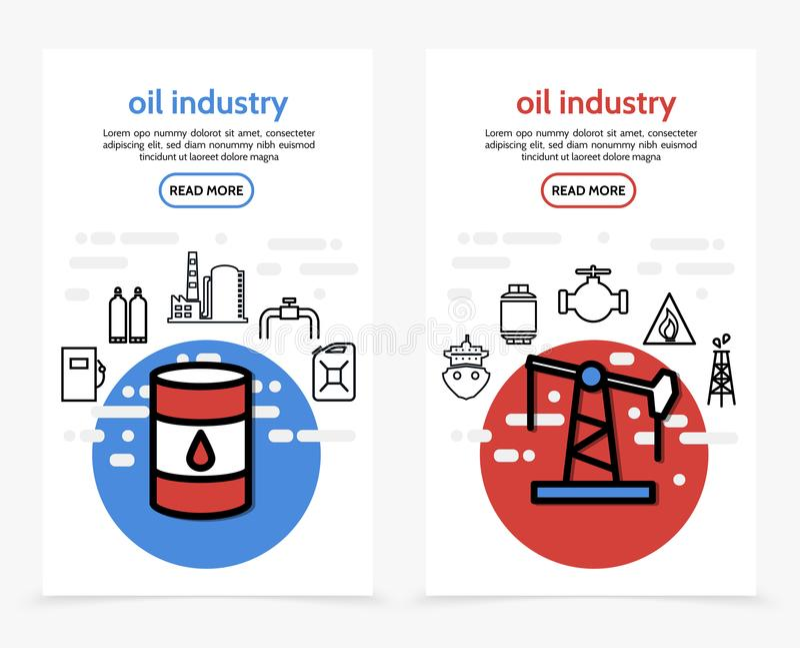 De Verticale Banners van de olieindustrie royalty-vrije illustratie