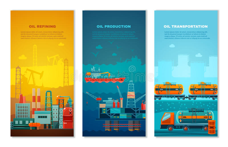 De Verticale Geplaatste Banners van de aardolieindustrie vector illustratie